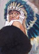 Girl in  a Warbonnet (Edition250) 700x450mm £125 or 390x290mm £55  ORIGINAL PAINTING IN OILS AVAILABLE FOR SALE £4500 AND MEASURES 36X24 INCHES stop press; original SOLD